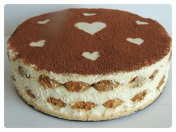 Tiramisu cake with hearts decoration