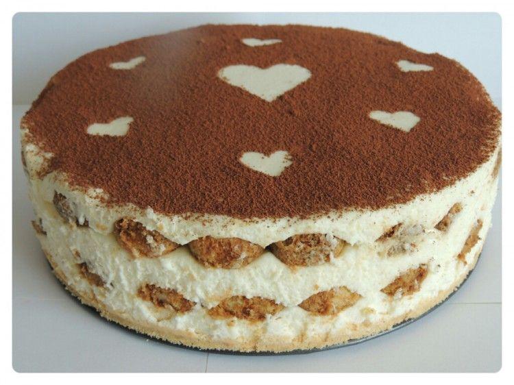 Tiramisu cake with s decoration on