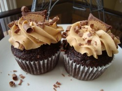Two peanut butter cupcakes