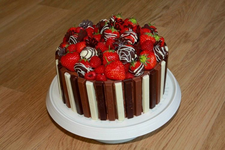 Strawberry And Chocolate Birthday Cake