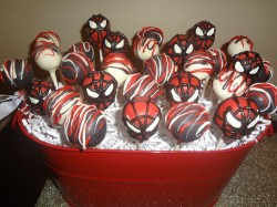 Chocolate Spider man cake pops