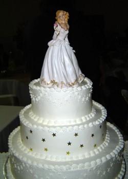 White quinceanera cake