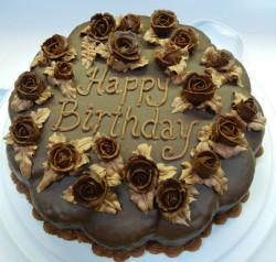 Birthday cake with chocolate roses