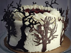 Black Forest cake with tree decorations