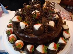 Chocolate cake covered strawberries
