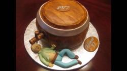 Fondant cake with beer barrel