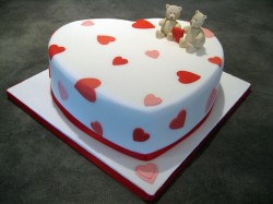 Heart shape engagement cake