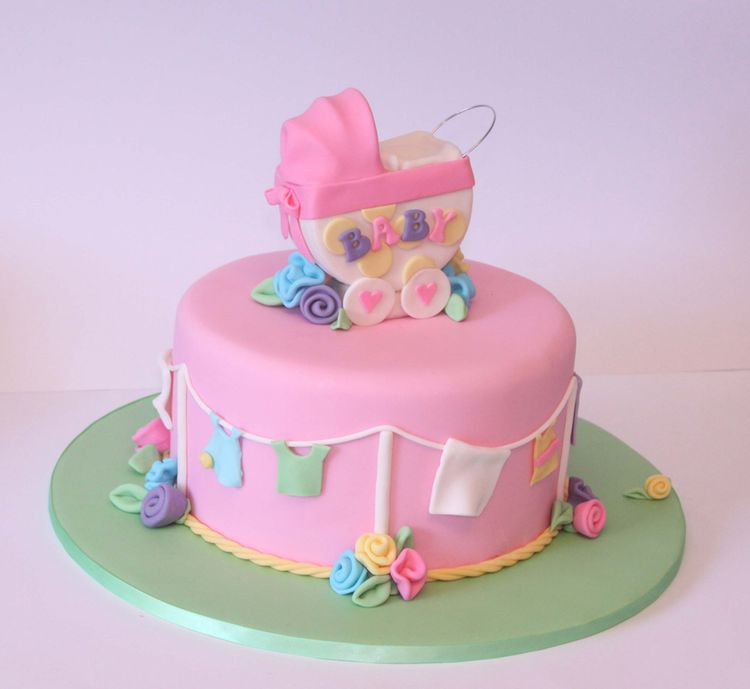 Baby Shower Cake Images For A Girl : Pink Baby shower cake