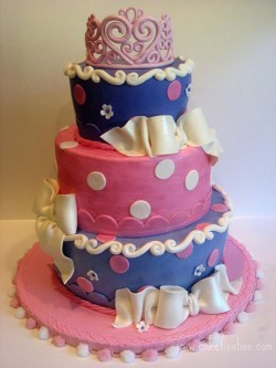 Pink and violet princess cake