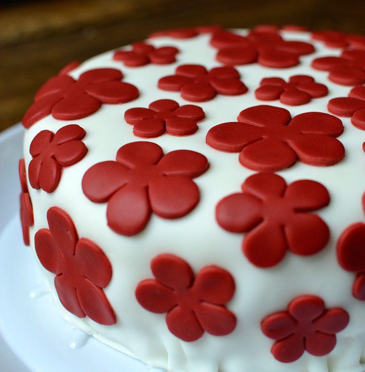Red velvet cake with red flowers