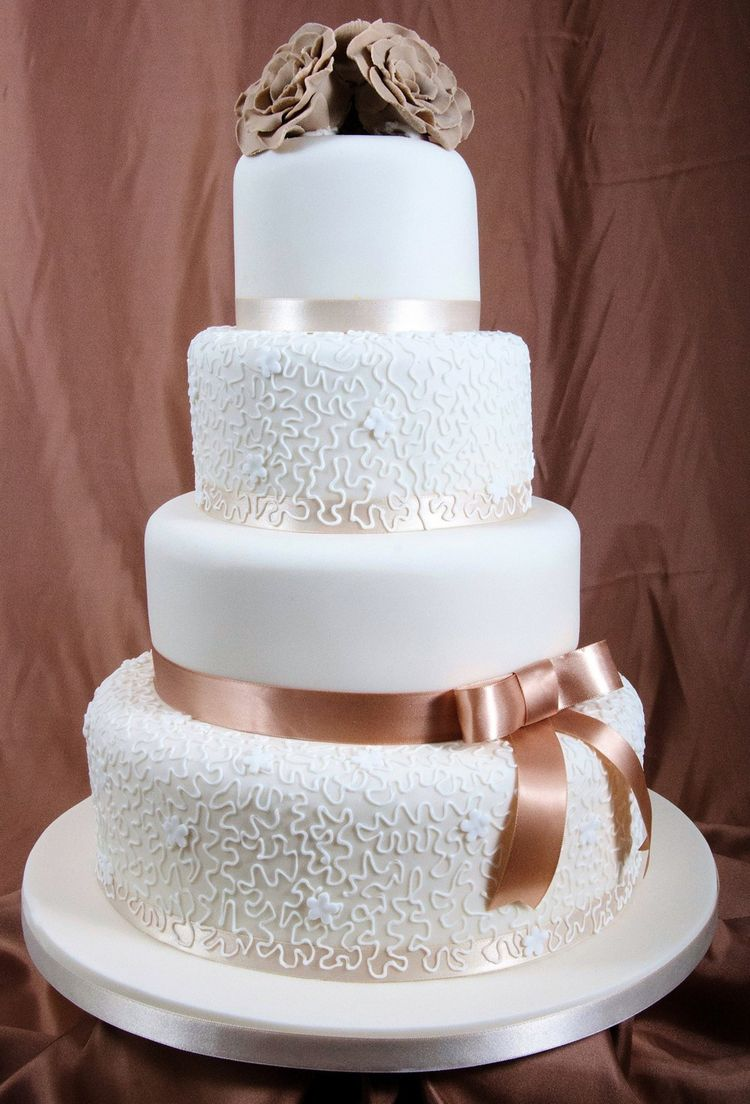 wedding cake with brown ribbon. Black Bedroom Furniture Sets. Home Design Ideas