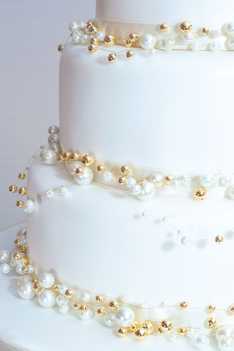 Wedding Cake With Gold Beads