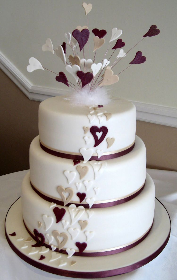 heart wedding cakes wedding cake with purple hearts 15179