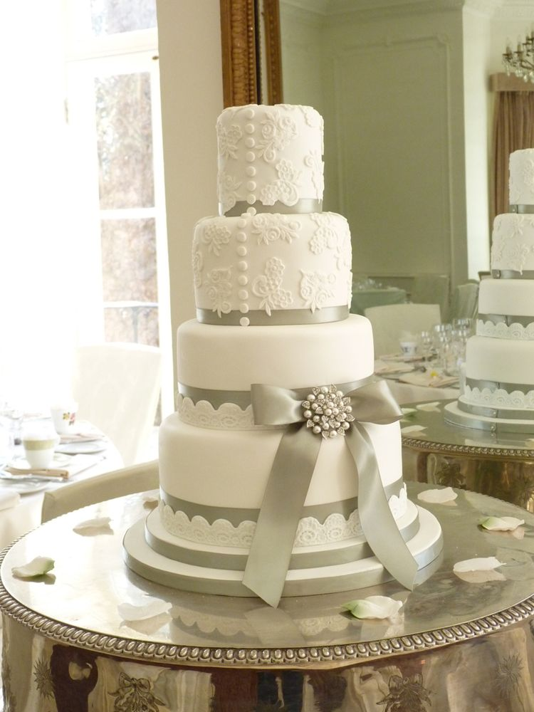white wedding cake with silver ribbon wedding cake with silver ribbon 27422