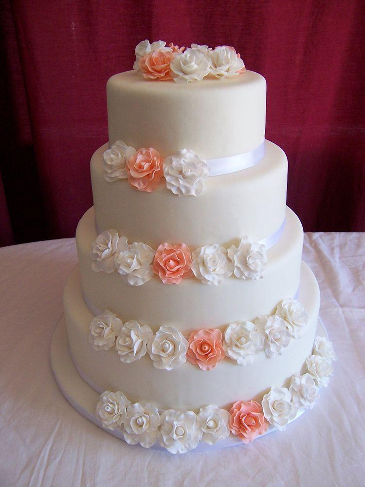 wedding cake with sugar roses. Black Bedroom Furniture Sets. Home Design Ideas