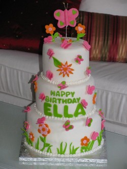 Large cake with butterflies