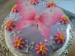 Large butterfly on the cake