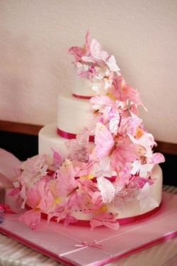 Wedding cake with pink butterflies