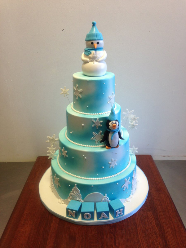 4 Tiers Winter Birthday Cake