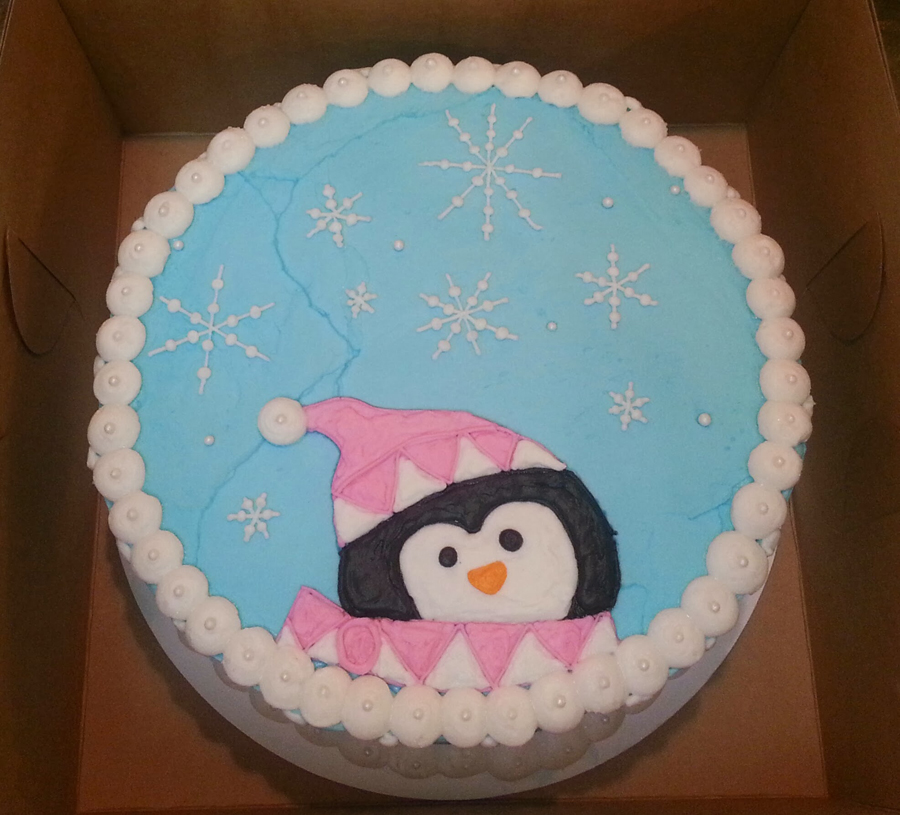 Birthday Cake With Cute Penguin