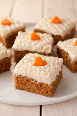 Carrot cake with carrots hearts