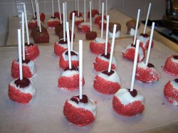 Red sparkling Birthday cake pops