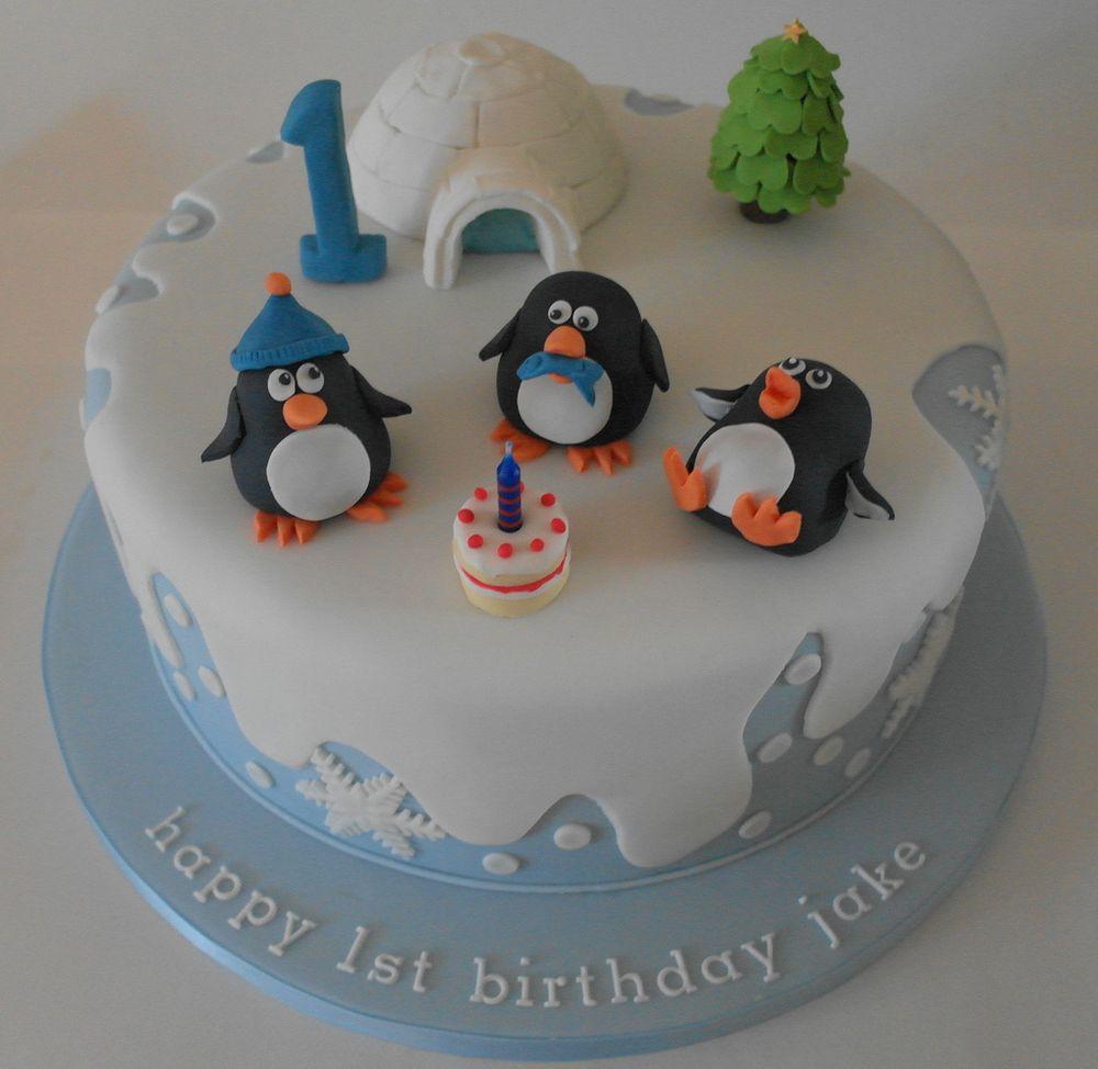 Birthday Cake Ideas Penguin : Birthday cake with penguins