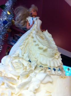 White Barbie cake