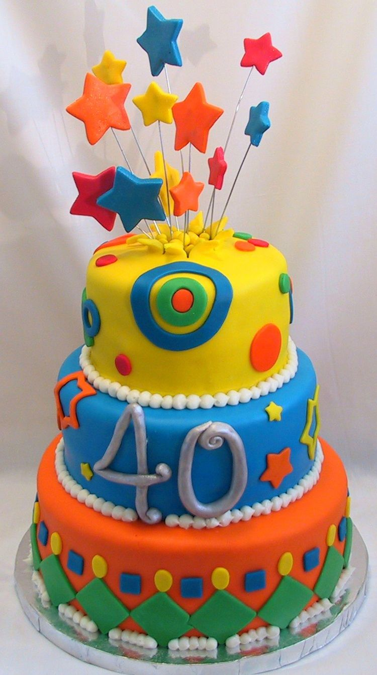 Fondant Cake Decorating Birthday : 40 Birthday fondant cake