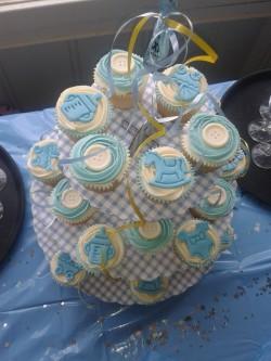 Blue Christening cupcakes