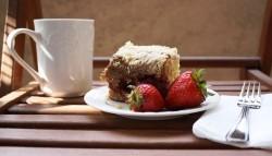 Cake with tasty coffee