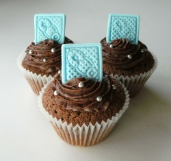 Chocolate Christening cupcakes