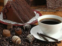 Chocolate cake with coffee cake