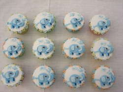 Christening cupcakes with elephant