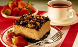 Delicious cake with coffee