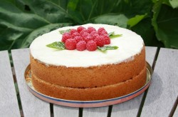 Madeira cake with raspberries