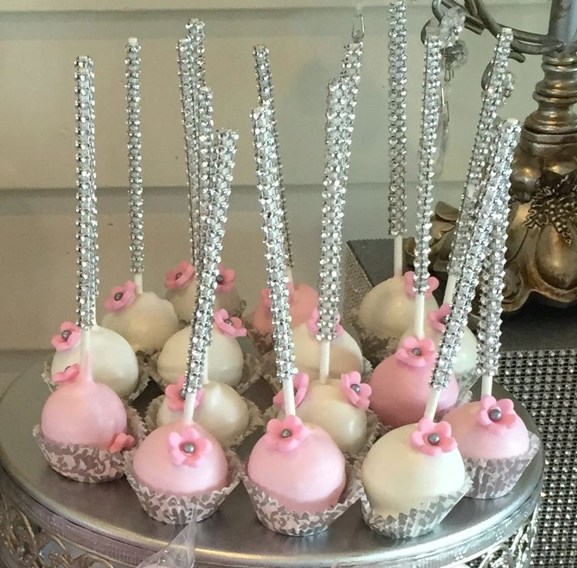 Cake Pop Designs For Christening : Pink Christening cake pops