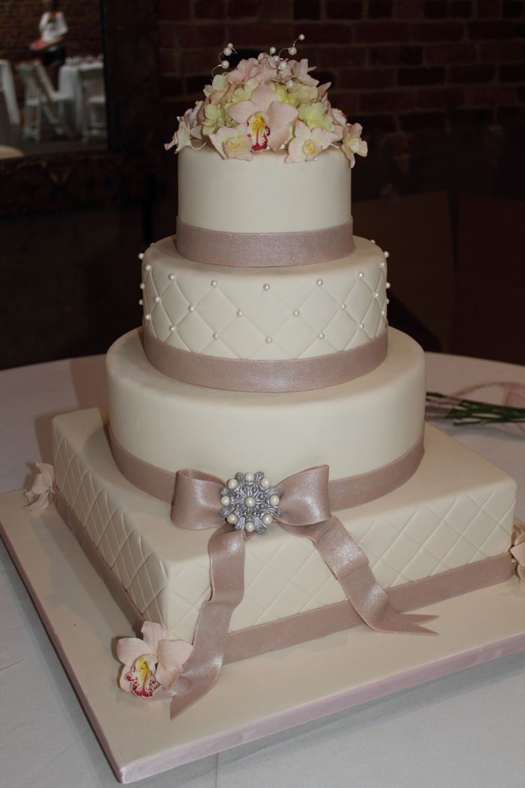 Wedding Cake With Nice Flowers