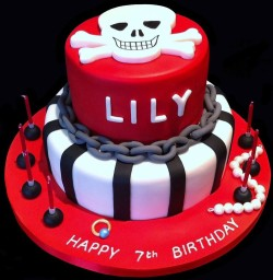Red fondant pirate cake