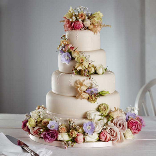 Amazing wedding cake with flowers junglespirit Images