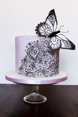 Cake with purple butterfly