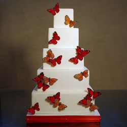 Cake with red butterflies