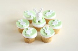 Easter cupcakes white bunnies
