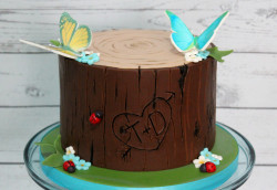 Love cake with butterfly