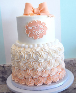 Peach ombre baby shower cake