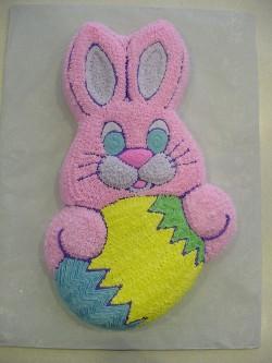 Pink smiling bunny cake