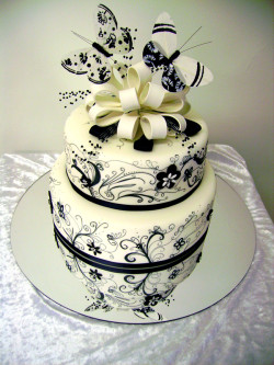 White and black butterfly cake