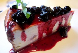 Blueberries cheese cakes slice