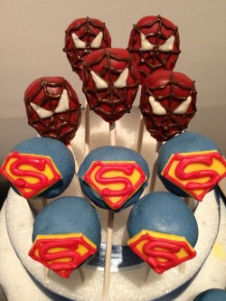 Spider man and Superman cake pops