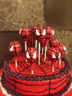Spider man cake with cake pops